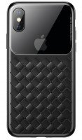 Чехол Baseus для iPhone XS Max Glass & Weaving Black