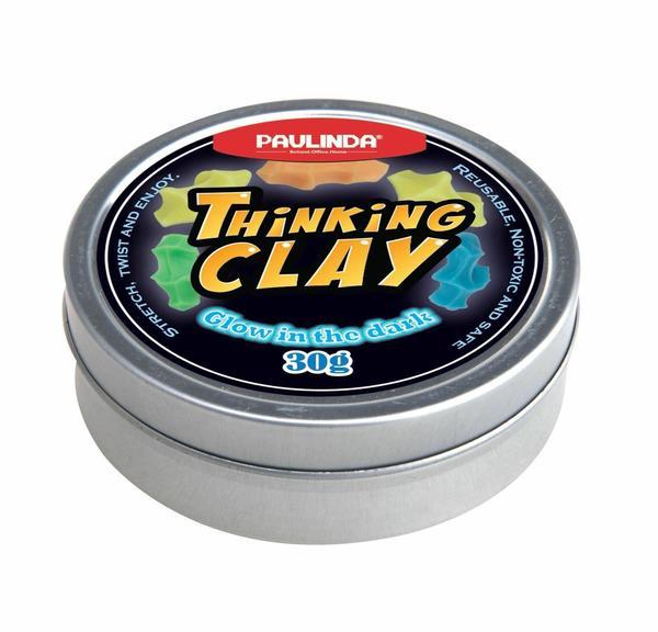 Купить Умный пластилин Paulinda Thinking Clay Светится в темноте, желтый 30 грамм (PL-170405-TCG-01)
