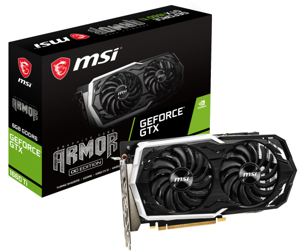 Видеокарта MSI GeForce GTX 1660 Ti 6GB GDDR6 Armor OC (GF_GTX_1660_TI_ARMOR6GOC) фото 1