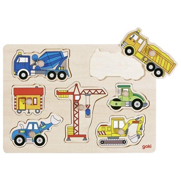 Купить Пазл-вкладыш goki Строительный транспорт (57593G)