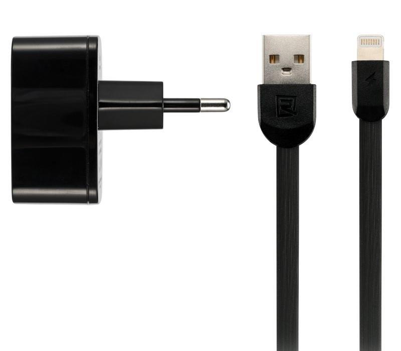 Зарядний пристрій Remax 2.4 A Dual USB Charger+Data Cable for Lightning black фото1