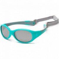 Детские солнцезащитные очки Koolsun KS-FLAG000 бирюзово-серые 0+ (KS-FLAG000)