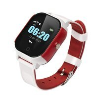 Дитячий годинник-телефон з GPS трекером GOGPS ME К23 білий з червоним (K23WHRD)