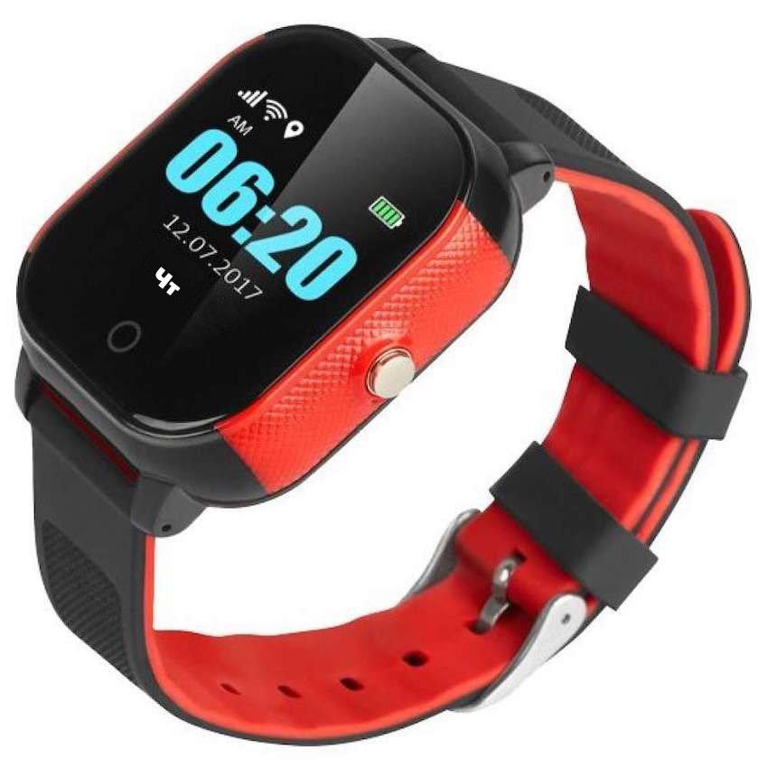 Детские часы-телефон с GPS трекером GOGPS ME К23 черный с красным (K23BKRD) фото