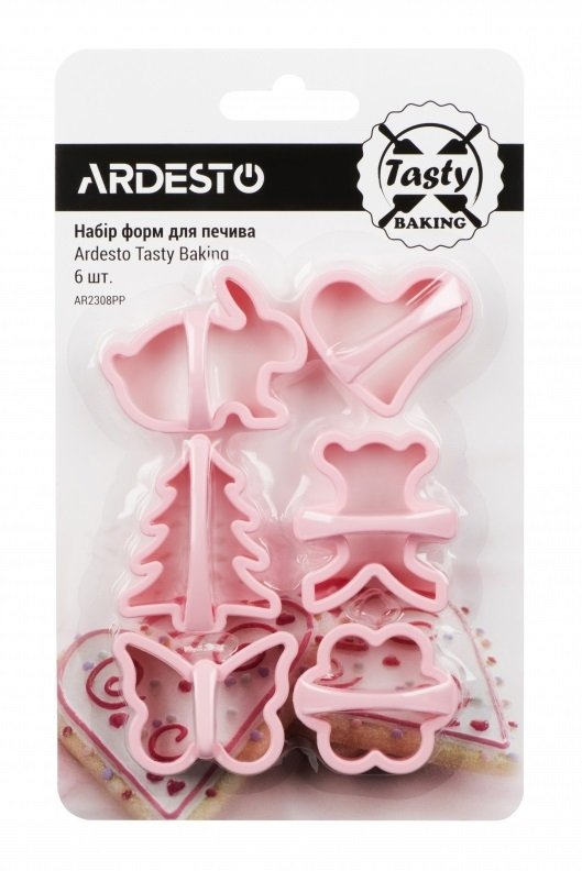 Набор форм для печенья Ardesto Tasty baking розовый 6 шт (AR2308PP) фото 1