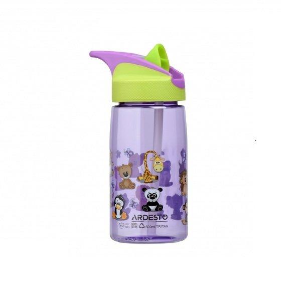 Бутылка для воды детская Ardesto Funny animals зеленая 500 мл (AR2201TA) фото 1