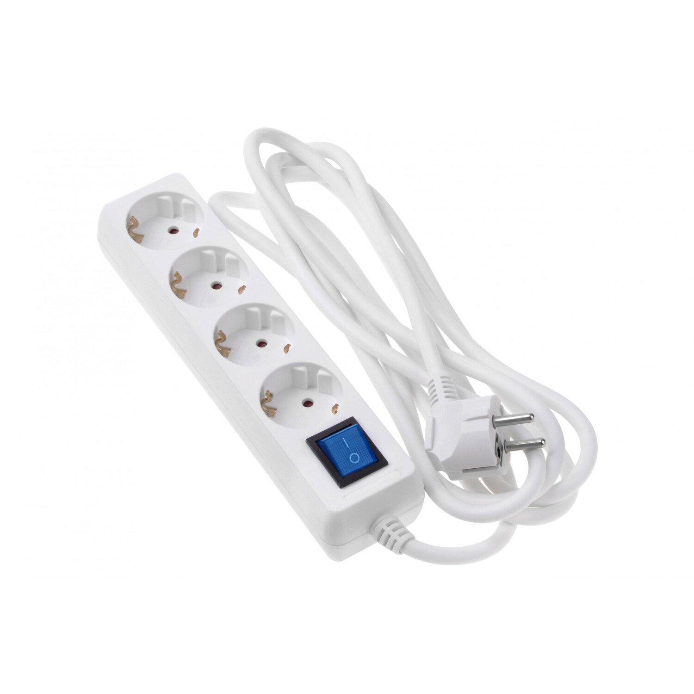 Сетевой фильтр 2Е 4XSchuko с выключателем 3G1.0*3M, белый фото 1