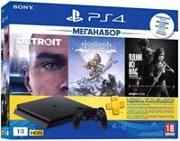 Игровая консоль PlayStation 4 Slim 1Tb (Horizon Zero Dawn + Detroit + The Last of Us + PSPlus 3М) (9926009)