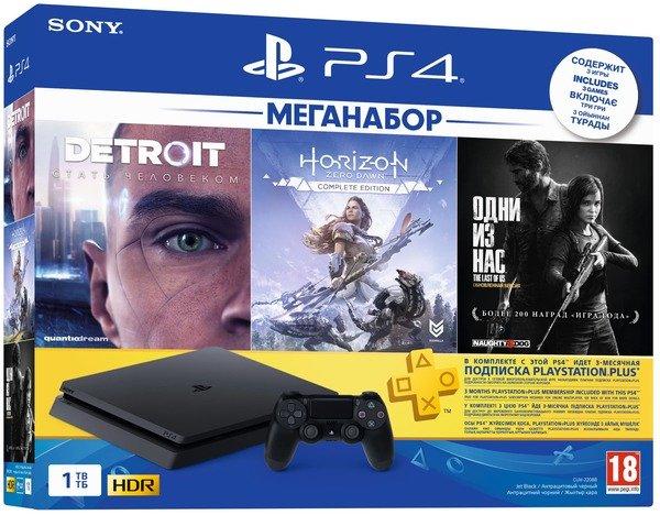 Купить Игровые приставки, Игровая приставка PlayStation 4 Slim 1Tb (Horizon Zero Dawn. Complete Edition + Detroit + The Last of Us + PSPlus 3М), SONY