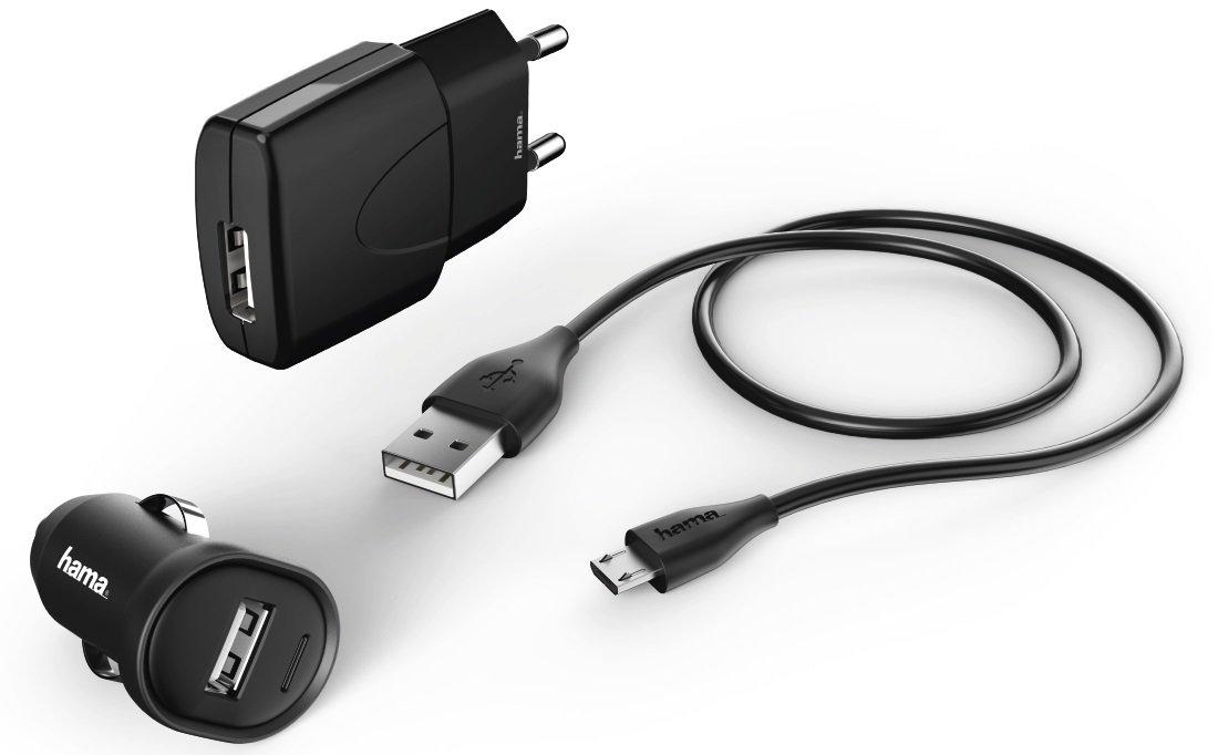 Автомобильное зарядное устройство Hama 3in1 1A + microUSB Cable Black фото 1