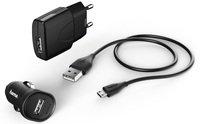 Автомобільний зарядний пристрій Hama 3in1 1A+microUSB Cable Black