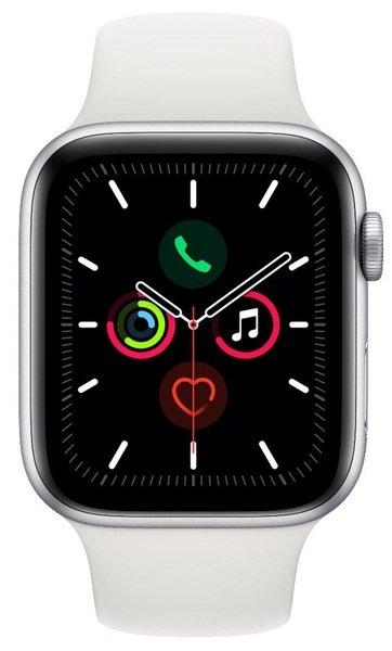 Купить Smart Watch (Умные часы), Смарт-часы Apple Watch Series 5 GPS 44mm Silver Aluminium Case with White Sport Band S/M & M/L