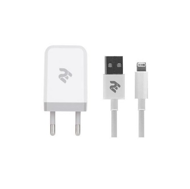 Зарядний пристрій 2E USB Wall Charger USB: DC5V/2.1A+кабель Lightning 2.4A white фото1