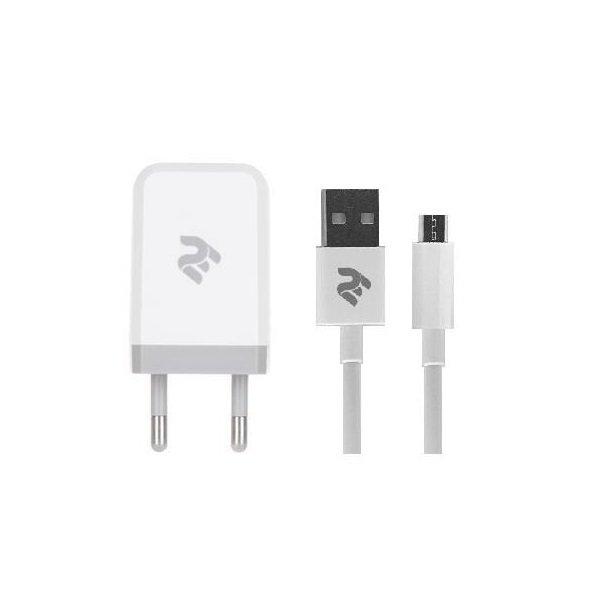 Мережевий зарядний пристрій 2E USB Wall Charger USB: DC5V/2.1A + кабель MicroUSB 2.4A Whiteфото