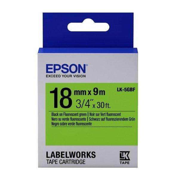 Картридж с лентой Epson LK5GBF принтеров LW-400/400VP/700 Fluor Blk/Green 18mm/9m (C53S655005) фото