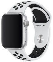 Ремешок Apple Watch 40mm Pure Platinum/Black Nike Sport Band S/M & M/L (MX8D2ZM/A)