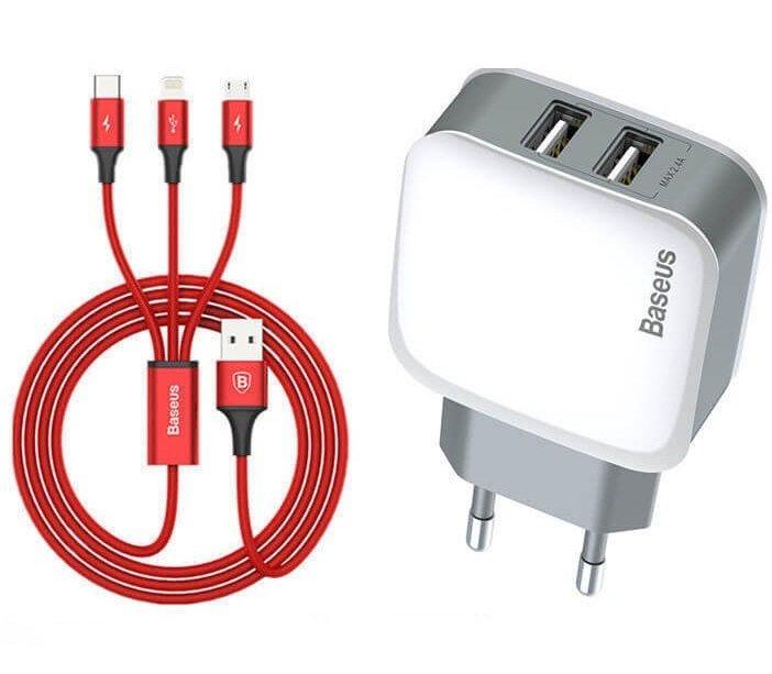 Зарядний пристрій Baseus Letour Dual U Charger (EU)+3-in-1 Red Cable (Apple+Micro+Type-C) White фото1