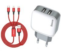 Зарядное устройство Baseus Letour Dual U Charger(EU)+3-in-1 Red Cable (Apple+Micro+Type-C) White