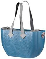 Сумка MyMia синий корпус/ серая подкладка/ серые кожаные ручки, фиксаторы, ремни на коляску
