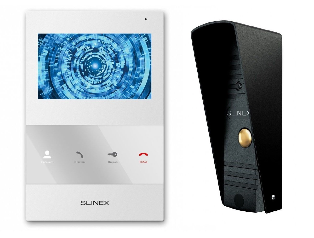 Комплект видеодомофона Slinex SQ-04M White + Панель Slinex ML-16HR Black фото