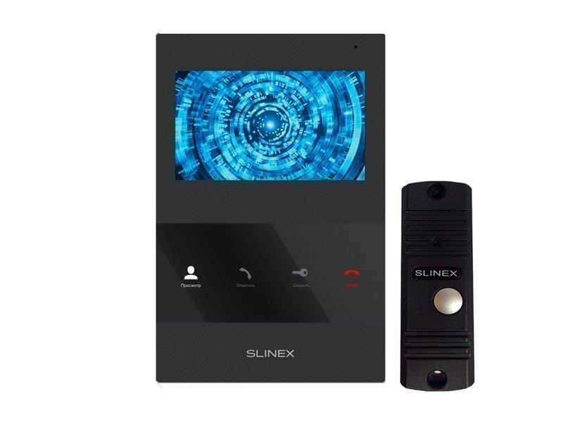 Комплект видеодомофона Slinex SQ-04M Black + Панель Slinex ML-16HR Black фото