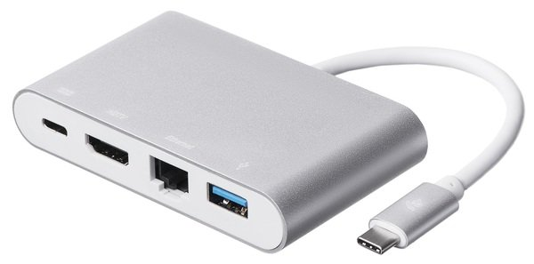 Купить Переходники, Адаптер 2E Type C to USB 3.0+Gigabit Ethernet+HDMI+USB Type C, 0.15m, silver