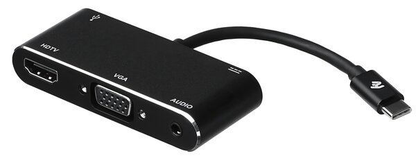Купить Переходники, Адаптер 2E Type C to USB 3.0+AUX+HDMI+VGA+USB Type C, 0.15m, black