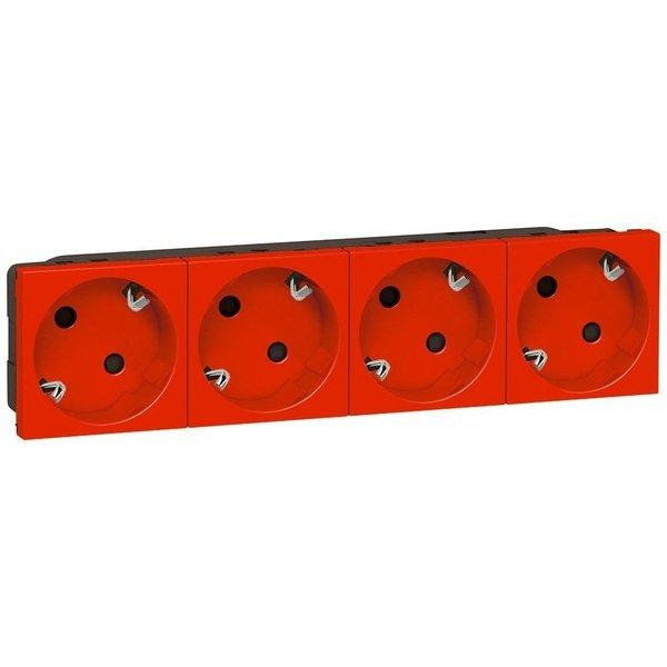 Купить Реле, таймеры, фотоконтроллеры, регуляторы, Розетка Legrand MOSAIC 4XSchuko под углом 45° 16А 250В автоматические клеммы, 8 модулей, красный