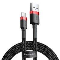 Кабель Baseus Cafule USB to Type-C 3A, 1м, red+black