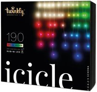 Smart LED Гірлянда Twinkly Icicle RGBW 190, BT+WiFi, Gen II, IP44 кабель прозорий (TWI190SPP-TEU)