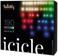 Smart LED Гирлянда Twinkly Icicle RGBW 190, BT+WiFi, Gen II, IP44 кабель прозрачный (TWI190SPP-TEU)