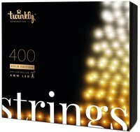 Smart LED Гирлянда Twinkly Strings AWW 400, BT+WiFi, Gen II, IP44, кабель черный (TWS400GOP-BEU)