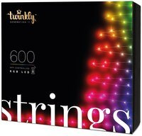 Smart LED Гирлянда Twinkly Strings RGB 600, BT+WiFi, Gen II, IP44 кабель черный (TWS600STP-BEU)