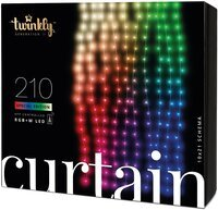 Smart LED Гірлянда Twinkly Curtain, Wall RGBW 210, BT+WiFi, Gen II, IP44 кабель прозорий (TWW210SPP-TEU)