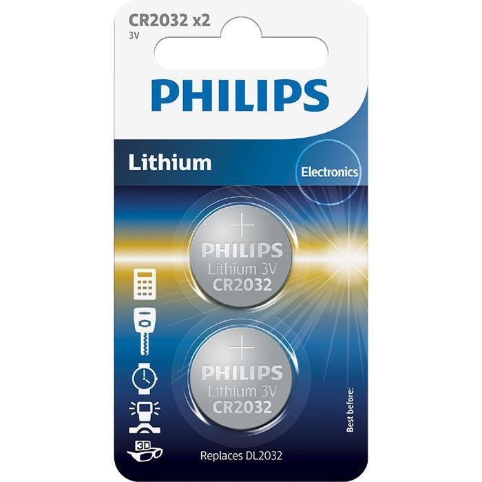 Батарейка Philips Lithium CR 2032 BLI 2 (CR2032P2/01B) фото 1