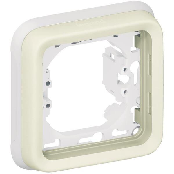 Купить Опции к пассивному сетевому оборудованию, Суппорт Legrand с рамкой для встроенного монтажа Plexo 1 пост, Белый