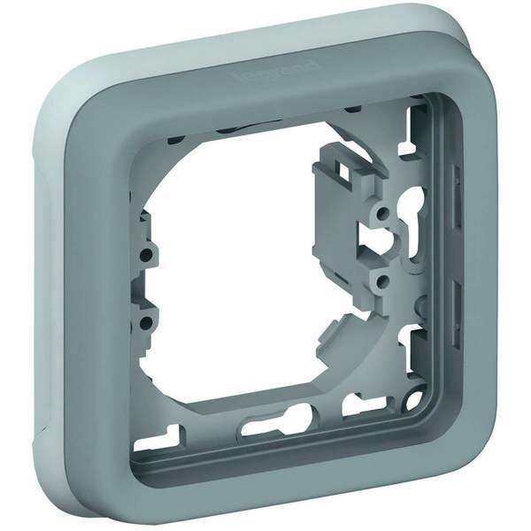Купить Опции к пассивному сетевому оборудованию, Суппорт Legrand с рамкой для встроенного монтажа Plexo 1 пост, Серый