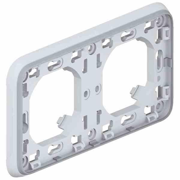 Купить Опции к пассивному сетевому оборудованию, Суппорт Legrand с рамкой для встроенного монтажа Plexo 2 поста, Серый