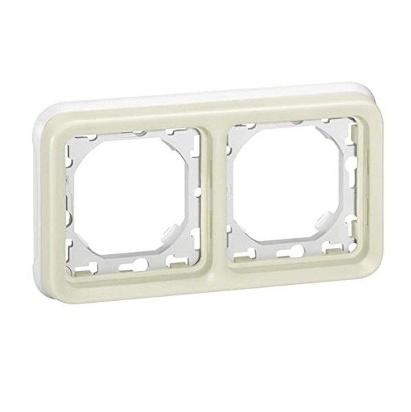 Купить Опции к пассивному сетевому оборудованию, Суппорт Legrand с рамкой для встроенного монтажа Plexo 2 пост, Белый