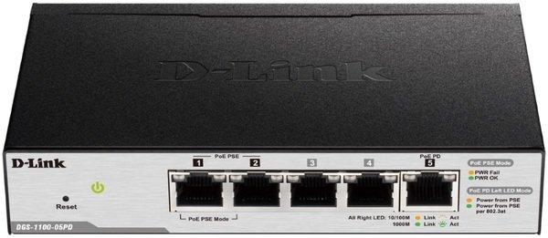 Купить Коммутаторы настраиваемые (Smart), Коммутатор D-Link DGS-1100-05PD 5x1GE (2xGE 2xGE PoE 1xGE PD) EasySmart