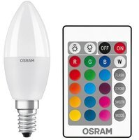 Лампа светодиодная OSRAM LED STAR Е14 5.5-40W 2700K+RGB 220V В35 пульт ДУ
