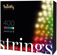Smart LED Гирлянда Twinkly Strings RGBW 400, BT+WiFi, Gen II, IP44, кабель черный (TWS400SPP-BEU)