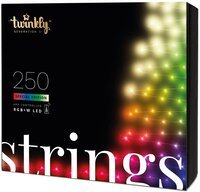 Smart LED Гирлянда Twinkly Strings RGBW 250, BT+WiFi, Gen II, IP44, кабель черный (TWS250SPP-BEU)