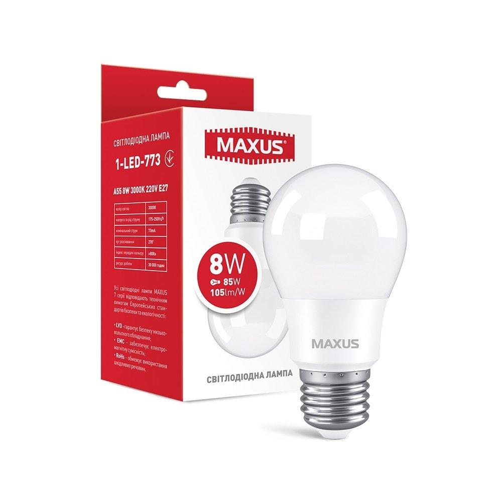 Светодиодная лампа MAXUS A55 8W 3000К E27 (1-LED-773) фото