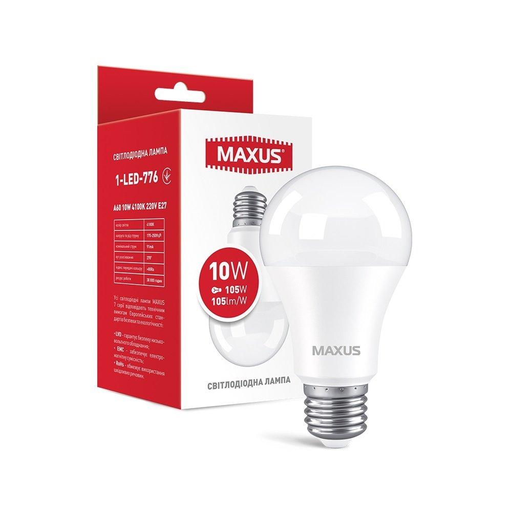 Светодиодная лампа MAXUS A60 10W 4100K 220V E27 AL (1-LED-776) фото 1