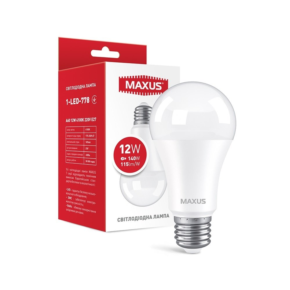 Светодиодная лампа MAXUS A60 12W 4100K 220V E27 AL (1-LED-778) фото