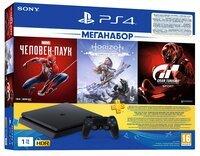 Игровая консоль PlayStation 4 Slim 1Tb (Gran Turismo + Horizon Zero Dawn + Spider Man + PSPlus 3М) (9391401)