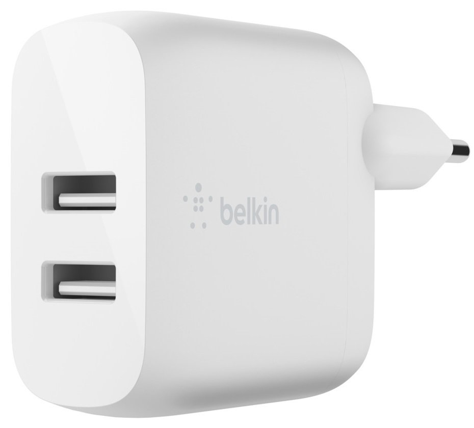 Сетевое ЗУ Belkin Home Charger (24W) DUAL USB 2.4A, white фото 1