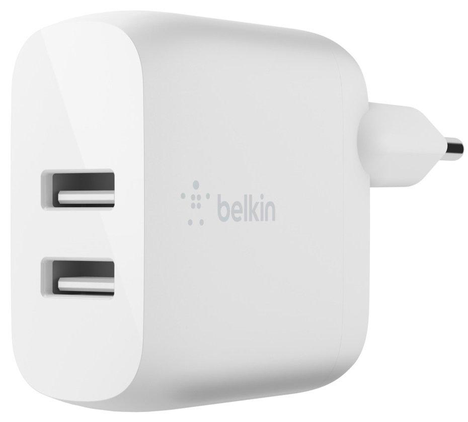 Мережевий ЗП Belkin Home Charger (24W) DUAL USB 2.4A, USB-C 1m, white фото