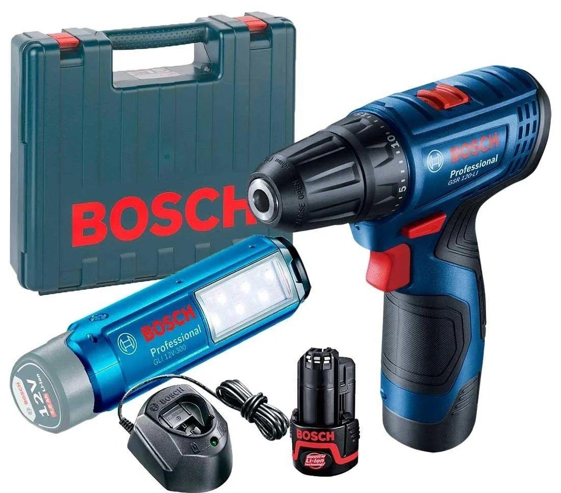 Шуруповерт-дрель Bosch Professional GSR 120 LI + фонарь GLI 12V-300, 2x2.0Ah фото